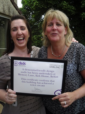 BCM Dementia Lead Sarah Penney and Kirk House Manager Andrea Selby celebrate winning the Gold Award